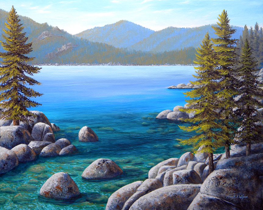 Lake Tahoe Inlet, oil painting by Frank Wilson, lake tahoe, landscape, landscape painting, landscape paintings,