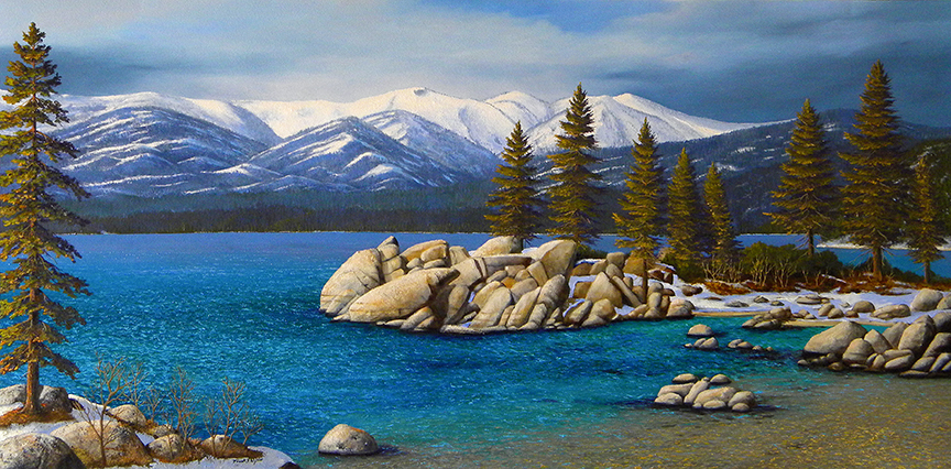 Sand Harbor in Winter Lake Tahoe, painting by Frank Wilson, oil painting, sand harbor, lake tahoe,