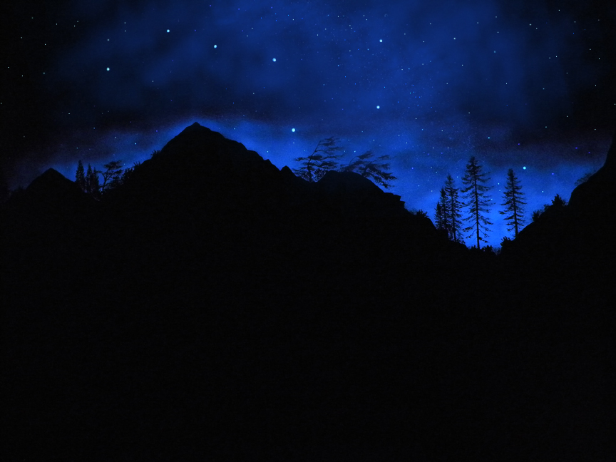 Sierra Silhouette, Glow in the dark wall mural by Frank Wilson