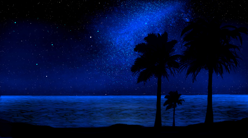 Tropical Beach, Glow in the dark, Mural, beach, nocturnal, night, stars