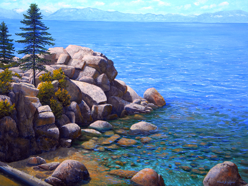 """Rocks and Water Lake Tahoe"" oil painting by Frank Wilsonaintings, Lake Tahoe,"