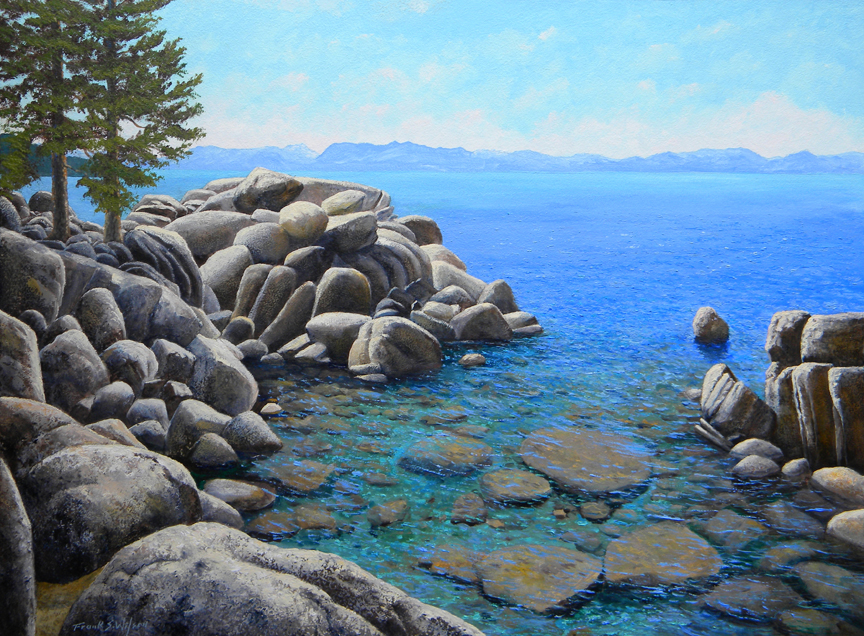 Boulder Cove on Lake Tahoe, Frank Wilson, oil painting, oil paintings,lake tahoe,