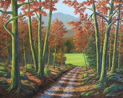 MAPLE FOREST ROAD oil painting by Frank Wilson, autumn, fall, autumn foliage