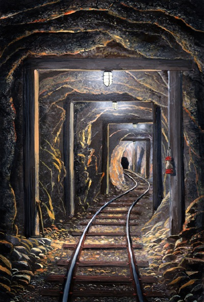 ural, mine shaft, painting, frank wilson, frank wilson fine art