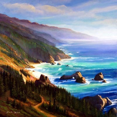 seascape painting, Shore Trail, oil painting by Frank Wilson, seascape, seascapes, ocean, surf, beach, sand, surf, seascape, seascapes,seascape paintings,