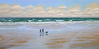 """Beach Dog Walk"" original oil painting by Frank Wilson"