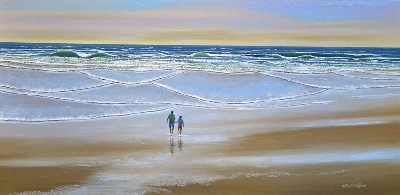 "seascape, seascapes, ocean, surf, beach, ""Beach Walk"" original oil painting by Frank Wilson, seascape, seascapes,"