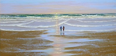"seascape, seascapes, ocean, surf, beach, ""Sunset At The Beach"" original oil painting by Frank Wilson"