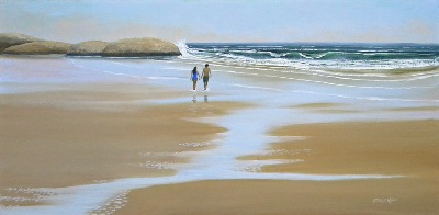 "seascape, seascapes, ocean, surf, beach, ""Walking The Beach"" original oil painting by Frank Wilson"