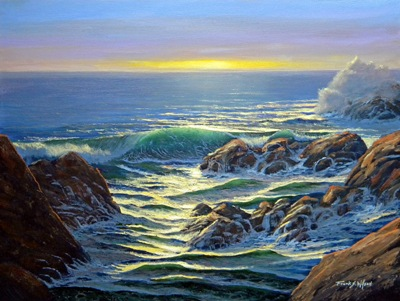 Coastal Evening, Frank Wilson, original oil painting