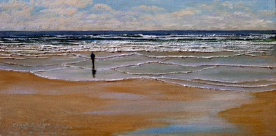 Incoming Tide, Seascape, oil painting by Frank Wilson, seascape, seascapes, ocean, surf, beach, sand, surf, seascape, seascapes,seascape paintings,