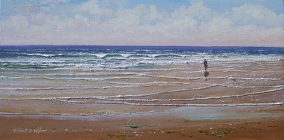 seashell Collectors,The Shell Collector, seascapes, seascape oil painting by Frank Wilson, seascape, seascapes, ocean, surf, beach, sand, surf, seascape, seascapes,seascape paintings,