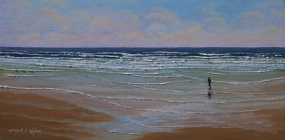 Surf Walker, seascape oil painting by Frank Wilson,seascape, seascapes, ocean, surf, beach, sand, surf, seascape, seascapes,seascape paintings,