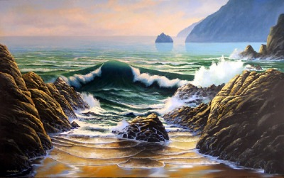 seascapes, seascape painting, Dancing Tide oil painting by Frank Wilson,seascape, seascapes, ocean, surf, beach, sand, surf, seascape, seascapes,seascape paintings,
