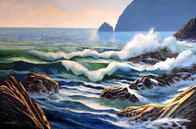 seascape painting Rolling Breakers oil painting by Frank Wilson