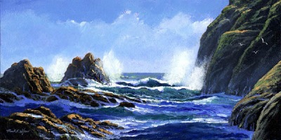 seascape painting, Rolling Surf, oil painting by Frank Wilson