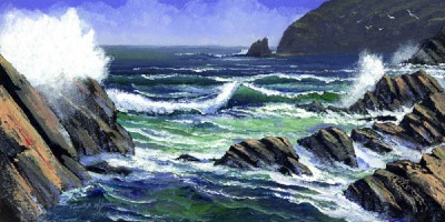 seascape painting, Summer Surf, oil painting by Frank Wilson, seascape, seascapes, ocean, surf, beach, sand, surf, seascape, seascapes,seascape paintings,