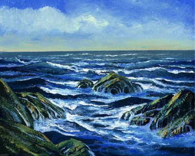 seascape painting, Waves And Foam, oil painting by Frank Wilson