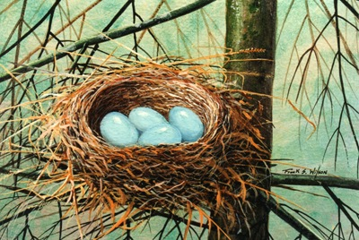 Blue Eggs in Nest, birds nest painting by Frank Wilson