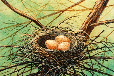 Brown Speckled Eggs, birds nest oil painting by frank Wilson