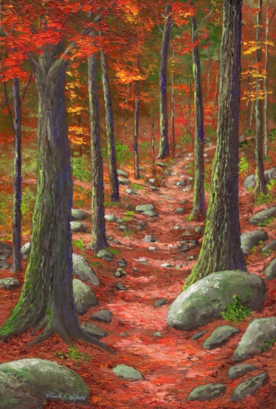 """Path in The Autumn Forest"" Frank Wilson Oils on a hardboard panel, 8 x 12 inches."