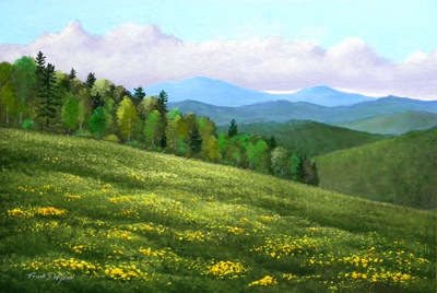 Dandelion Hill, oil painting, Frank Wilson, spring, meadows, mountains, flowers