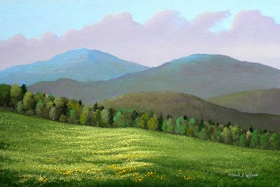 Forest Edge In Spring, oil painting, Frank Wilson, spring, meadows, mountains, Vermont, flowers