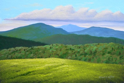 High Pasture,  oil painting, Frank Wilson, spring, meadows, mountains, Vermont, flowers