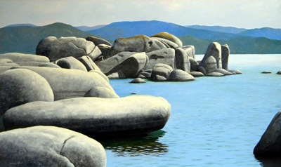 Lake Tahoe, Rocky Cove, lake, mountains, sky, reflection, rocks, boulders