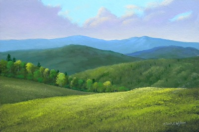 Spring Hills, oil painting, Frank Wilson, spring, meadows, mountains, Vermont, flowers