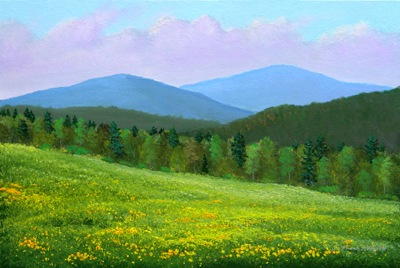 Spring Flowers, oil painting, Frank Wilson, spring, meadows, mountains, Vermont, flowers