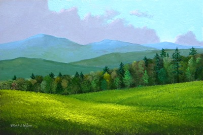 Spring In The Mountains, oil painting, Frank Wilson, spring, meadows, mountains, Vermont, flowers
