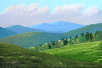 Vermont Pastures, oil painting, Frank Wilson, spring, meadows, mountains, Vermont, flowers