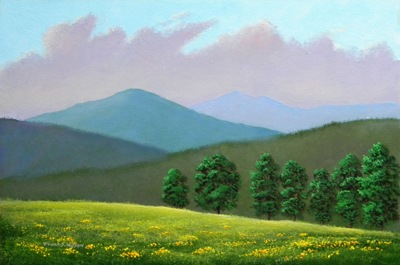 Witness Trees, oil painting, Frank Wilson, spring, meadows, mountains, Vermont, flowers