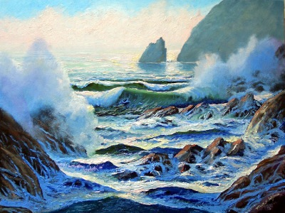 seascapes, seascape paintings, North Coast Surf, oil painting by Frank Wilson,seascape, seascapes, ocean, surf, beach, sand, surf, seascape, seascapes,seascape paintings,