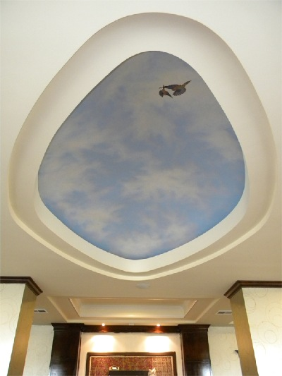 Sky Dome, Ceiling mural, painted sky, ceiling art, illusion, glow in the dark