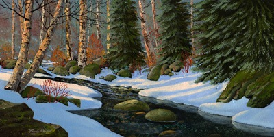"""Winter Brook"" oil painting by Frank Wilson"