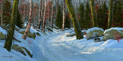 """Winter Road"" oil painting by Frank Wilson"