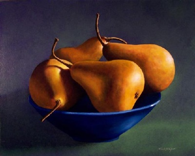 still life painting, Blue Bowl With Pears, oil painting by Frank Wilson