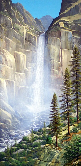 landscape painting, waterfalls, Great Falls oil painting by Frank Wilson