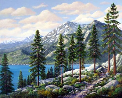 landscape painting, Mountain Trail, oil painting by Frank Wilson