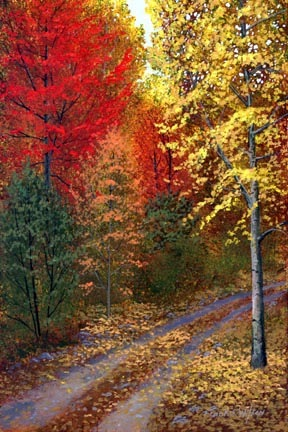 landscape painting, October Road, oil painting by Frank Wilson, autumn foliage, autumn season, New England,