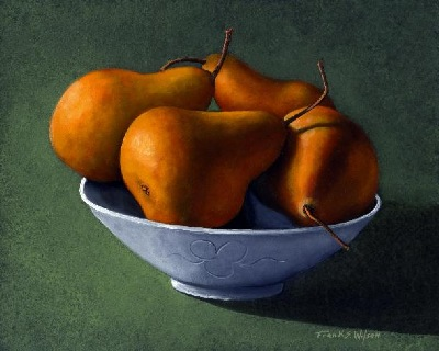 still life painting, Pears in Blue Bowl, oil painting by Frank Wilson