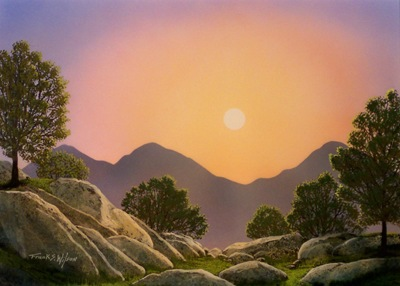 Glowing Landscape, an original watercolor and gouache painting by Frank Wilson