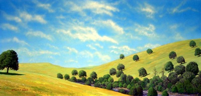 Grassy Hills, an original watercolor and gouache painting by Frank Wilson