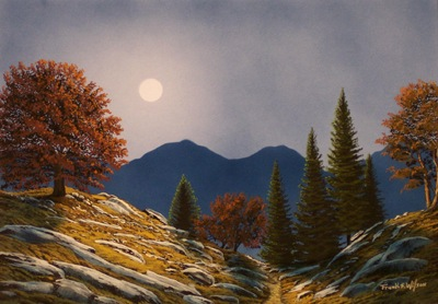 """Mountain Moonrise"" an original watercolor and gouache painting by Frank Wilson"