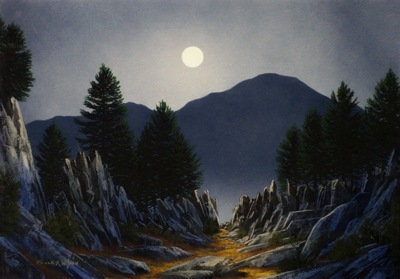 Sierra Moonrise, an original watercolor and gouache painting by Frank Wilson