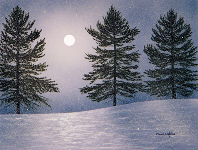 Snow Light, an original watercolor and gouache painting by Frank Wilson