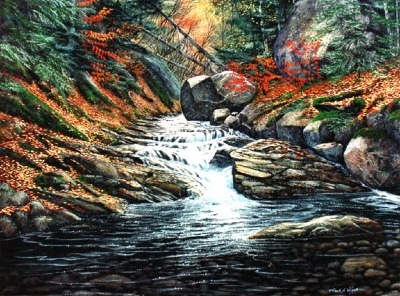Autumn Brook oil painting by Frank Wilson, landscape painting, landscape paintings,