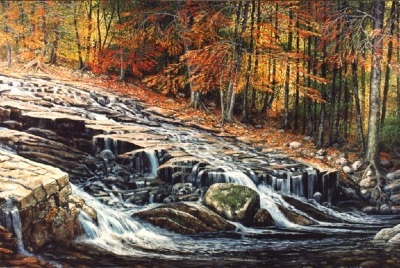 Autumn Cascade oil painting by Frank Wilson,landscape painting, landscape paintings,landscapes,